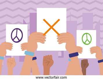 Protest hands holding paper with cross love and peace circle vector design