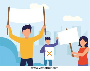 Protest people with banners vector design