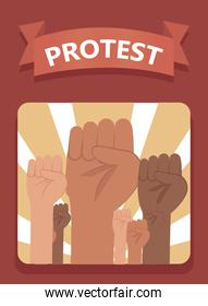 Protest fists hands in frame vector design
