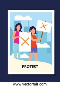 Protest women holding banners with cross at city vector design