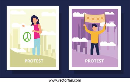 Protest woman and man holding banners in frames vector design