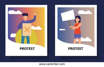 Protest woman and man holding banners in labels vector design