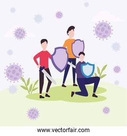 covid 19 virus fight and men with shields and swords outside vector design