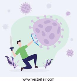 covid 19 virus fight and man with shield and sword fighting vector design