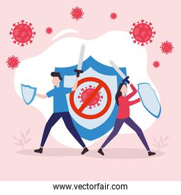 covid 19 virus fight woman and man with shield vector design