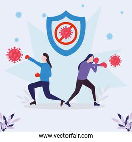 covid 19 virus fight and women with boxing gloves vector design