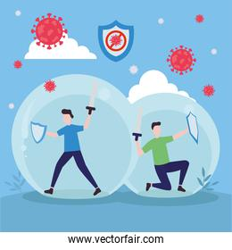 covid 19 virus fight and men with shields in spheres vector design