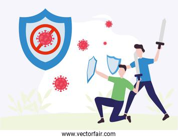 covid 19 virus fight and men with shield vector design