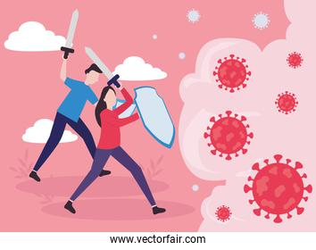 covid 19 virus fight woman and man with shields and swords vector design