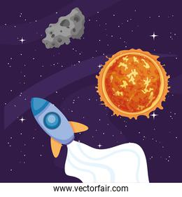 Space rocket sun and asteroid vector design