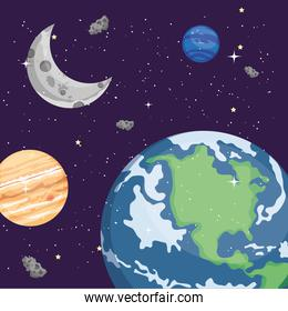 Space earth world planets and moon vector design
