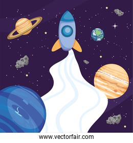 Space rocket planets and earth world vector design