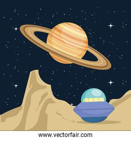 Space ufo and saturn vector design