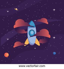 Space rocket with clouds and planets vector design
