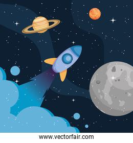 Space rocket moon and planets vector design