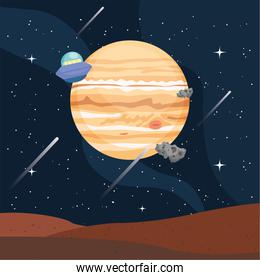 Space planet ufo and asteroids vector design
