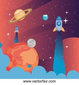 Space rockets sun and planets vector design