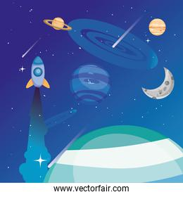 Space rocket planets and moon