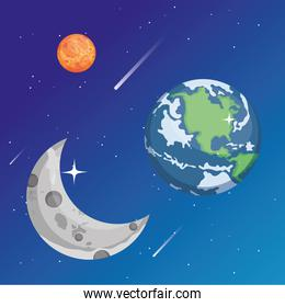 Space mars moon and earth world vector design