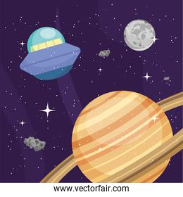 Space ufo saturn and moon vector design