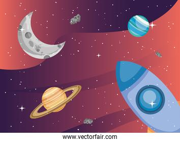 Space rocket moon planet and saturn vector design