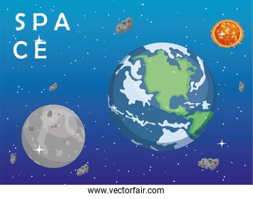 Space earth world moon sun and asteroids vector design