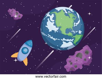 Space earth world rocket and asteroids vector design