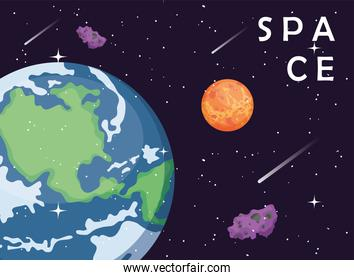 Space earth world mars and asteroids vector design