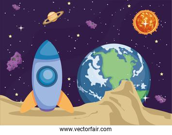 Space rocket earth world sun planet and asteroids vector design