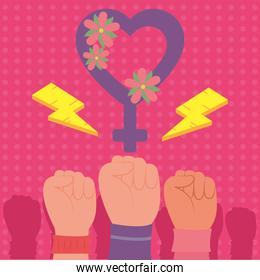 Girl power fists up and heart gender vector design