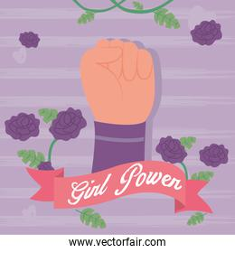Girl power ribbon fist up with flowers vector design