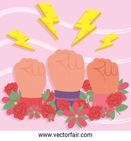 Girl power fists up flowers and thunders vector design