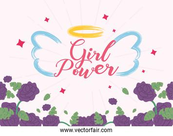 Girl power angel wings and flowers vector design