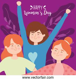 Happy womens day girls cartoons with leaves vector design