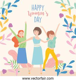 Happy womens day girls cartoons with hands up vector design