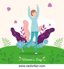 Womens day girl cartoon outside with flowers and leaves vector design