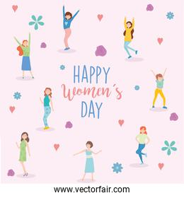 Happy womens day girls cartoons flowers and hearts vector design