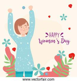 Happy womens day brown hair girl cartoon vector design
