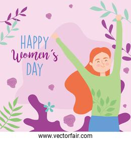 Happy womens day girl cartoon with hands up vector design