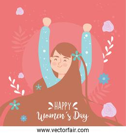 Happy womens day brown hair girl cartoon with hands up vector design