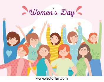 Womens day girls cartoons with hands up vector design