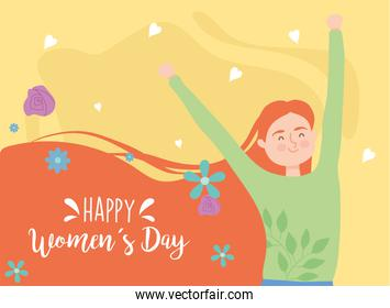 Happy womens day red hair girl cartoon with hands up vector design