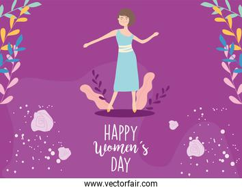 Happy womens day girl cartoon with leaves vector design