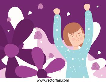 woman cartoon with purple flowers vector design