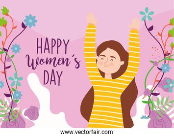 Happy womens day girl cartoon with hands up and flowers vector design