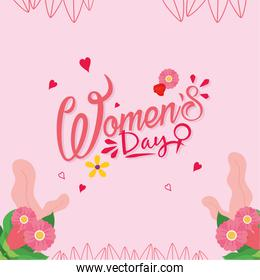 Womens day with flowers in pink background