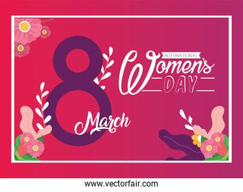 Womens day eight march with flowers on pink background vector design