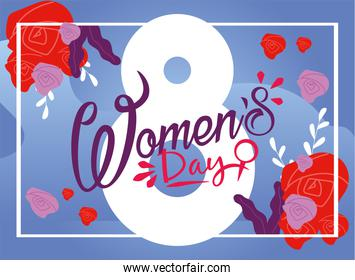 Womens day eight march with roses on blue background vector design