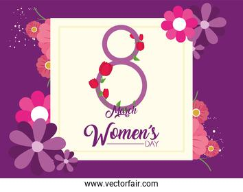 Womens day eight march with flowers in frame on purple background vector design