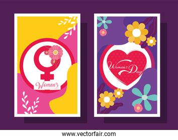 Womens day with flowers frames vector design